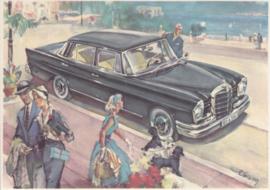220 SE Sedan, A6-size, German card with 4 languages, 1960