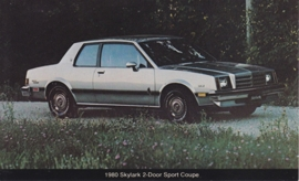 Skylark 2-Door Sport Coupe, US postcard, standard size, 1980