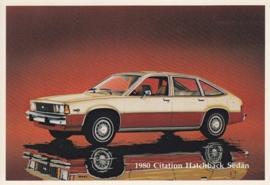 Citation Hatchback Sedan,  US postcard, standard size, 1980