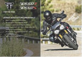 Triumph Speed Triple S/R, A5-size doublesided sheet, German language, 2016