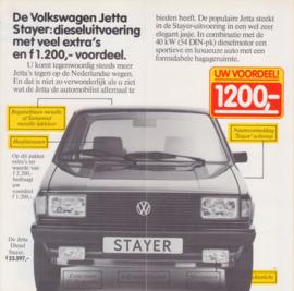 Jetta Diesel Stayer folder, 4 small pages,  Dutch language, 8/1982