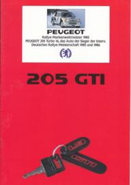 205 GTI brochure, 8 pages, A4-size, 1987, German language