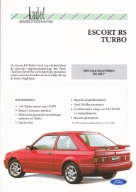 Escort RS Turbo brochure, 2 pages, Dutch language, 01/1990 (Belgium)