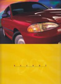 Accent Hatchback & Sedan brochure, 16 large pages, 1997, USA, English language