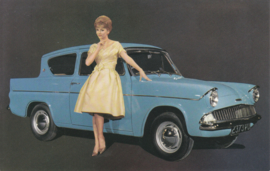 Ford Anglia, advertising postcard, factory-issued, 1/1961, Dutch