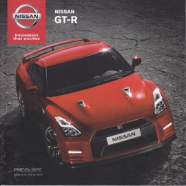 GT-R sportscar pricelist, 16 pages, 02/2015, German language