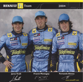 Formula 1 team drivers Trulli, Montagny & Alonso, square postcard, 2004