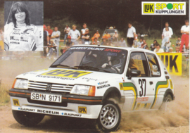205 GTI  with Rena Blome, A6-size postcard, about 1985