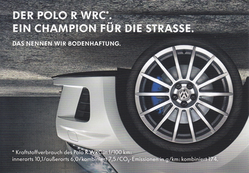 Polo R WRC rallye champion, A6-size postcard, German, 2014