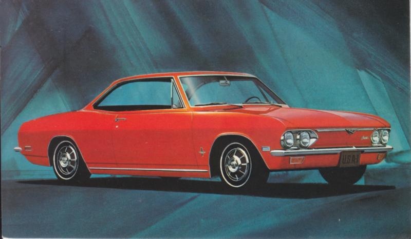 Corvair Monza Sport Coupe, US postcard, standard size, 1968