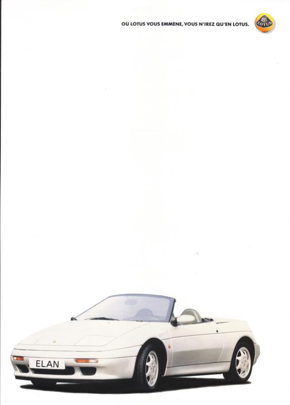 Elan SE sportscar, 2 page leaflet, DIN A4-size, c1990, GM France, French language