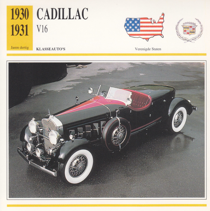 Cadillac V16 card, Dutch language, D5 019 01-13