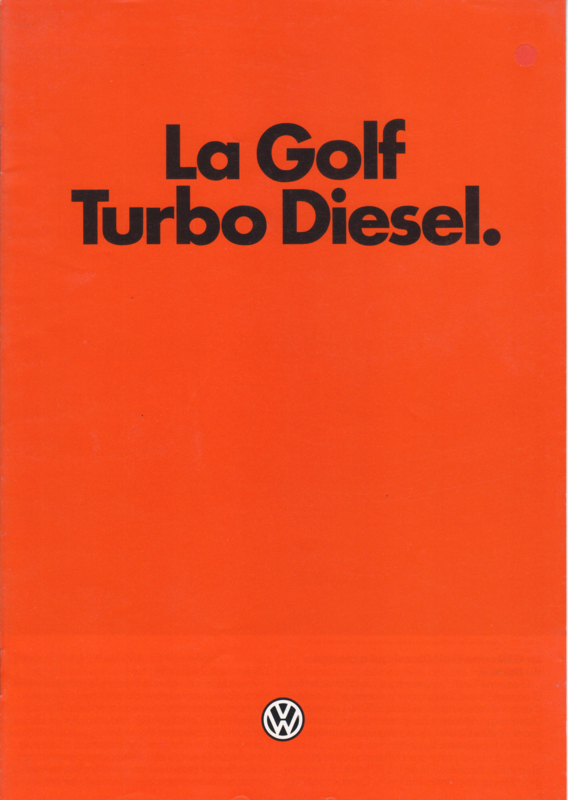 Golf Turbo Diesel brochure, A4-size, 8 pages, French language, 03/1982