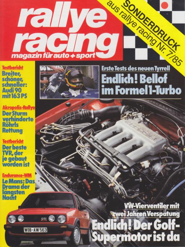 350i roadtest report Rallye Racing magazine, 6 pages, German language, 7/1985 *