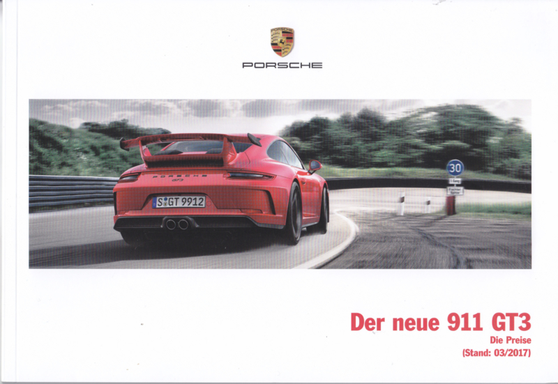 911 GT3 pricelist brochure, 68 pages, 03/2017, German