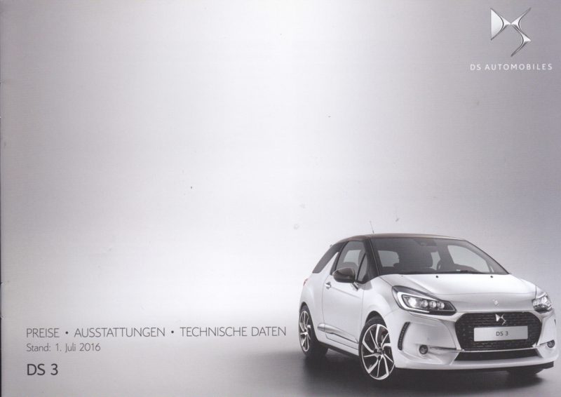 DS 3 prices & specifications brochure, 24 pages, 07/2016, German language