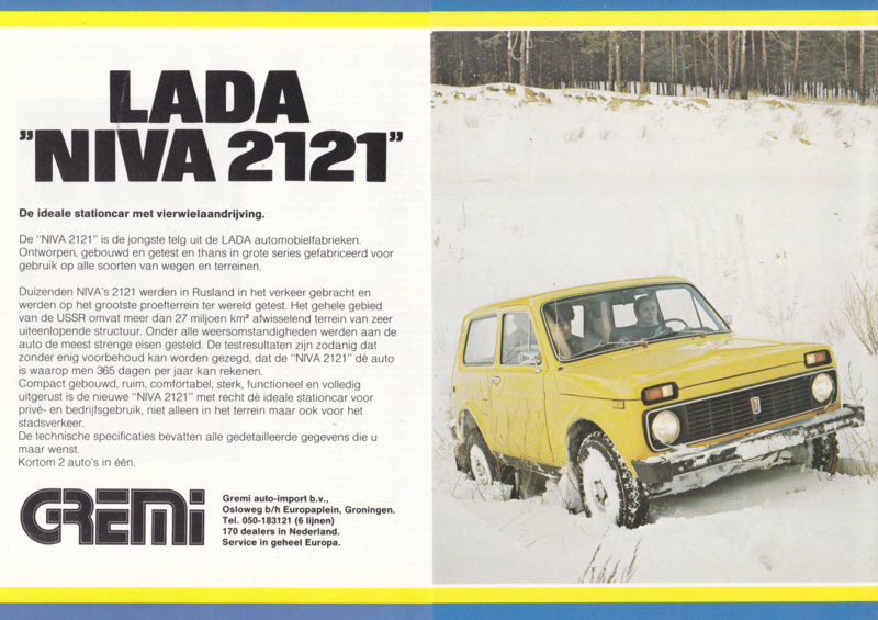 Niva 2121 4x4 brochure, 4 pages, about 1978, Dutch language
