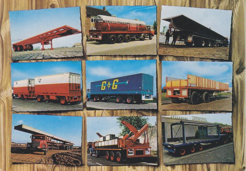 Groenewegen trailers combi card with 9 views, DIN A6-size postcard, Dutch issue