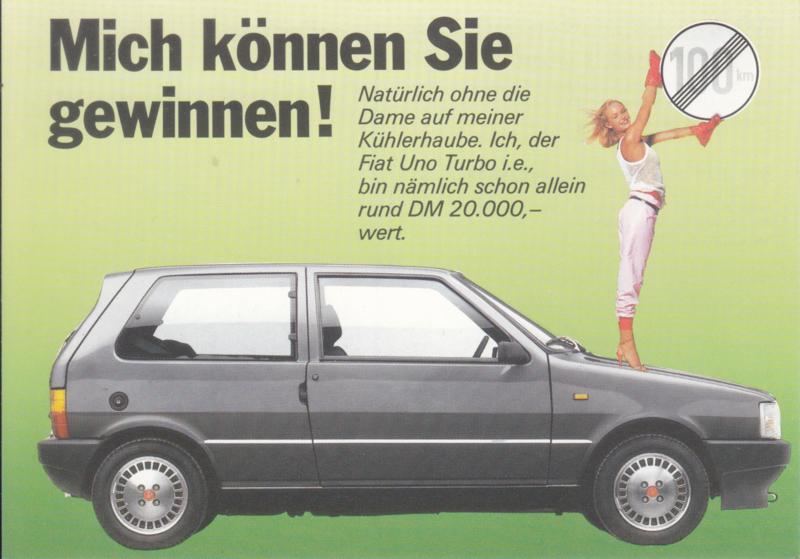 Uno Turbo i.e., A6-size postcard, German language, 1985
