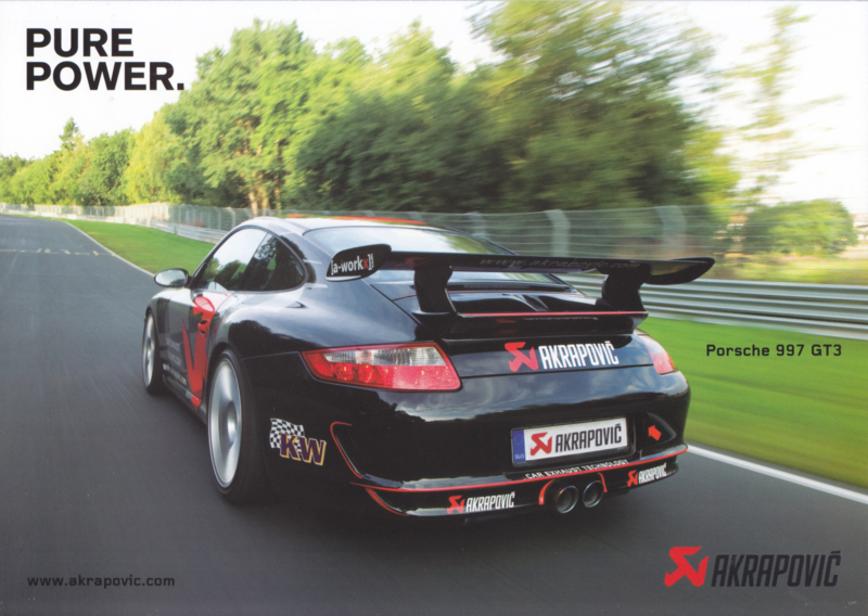 911 (997) GT3 Akrapovic exhaust leaflet, 2 pages, 2009, German language