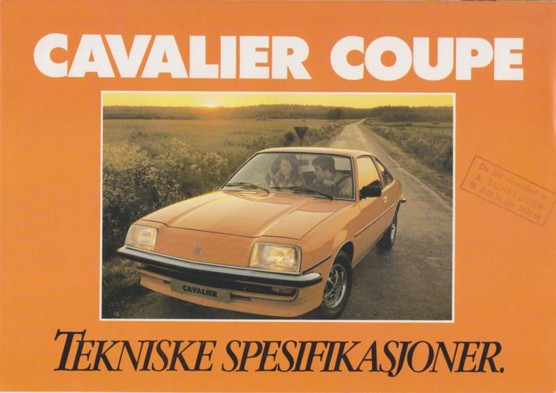 Cavalier Coupe, 4 pages, Danish language, about 1979
