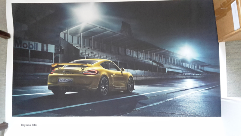 Cayman GT4 large original factory poster, published 01/2015