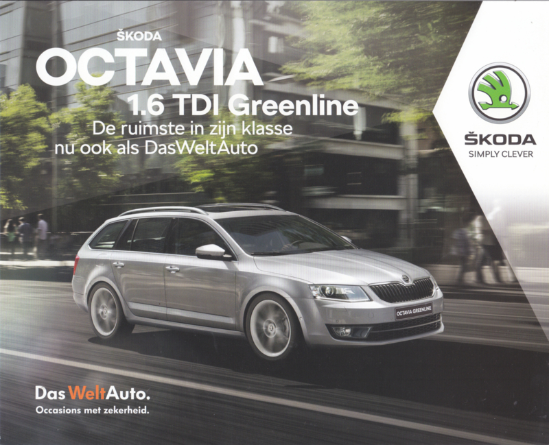 Octavia 1.6 TDI Greenline brochure, 4 pages, Dutch language, 2019