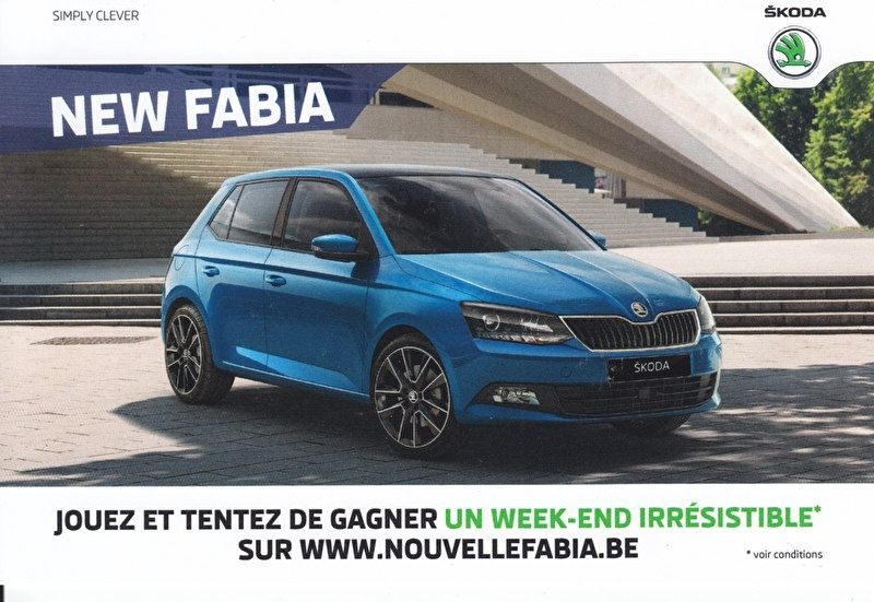 Fabia & Fabia Combi, A6-size double-sided picture card, Belgium, 2015