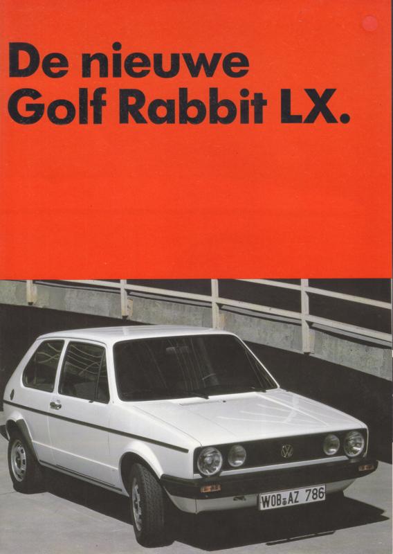 Golf Rabbit LX brochure, A4-size, 4 pages, 3/1983, Dutch language