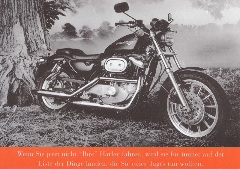 Harley-Davidson Sportster, larger size postcard, German language, EC-600007-98G