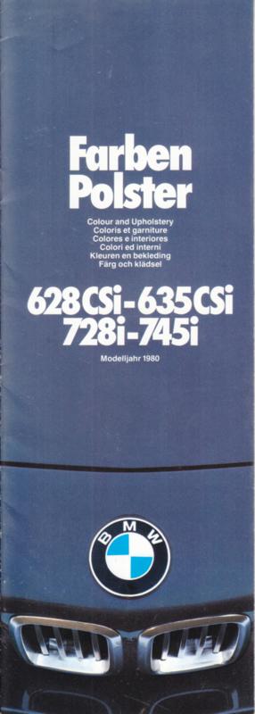 728i-745i/628CSi-635CSi Colours & Upholstery folder, 14 pages, half A4-size, 2/1979, 7 languages