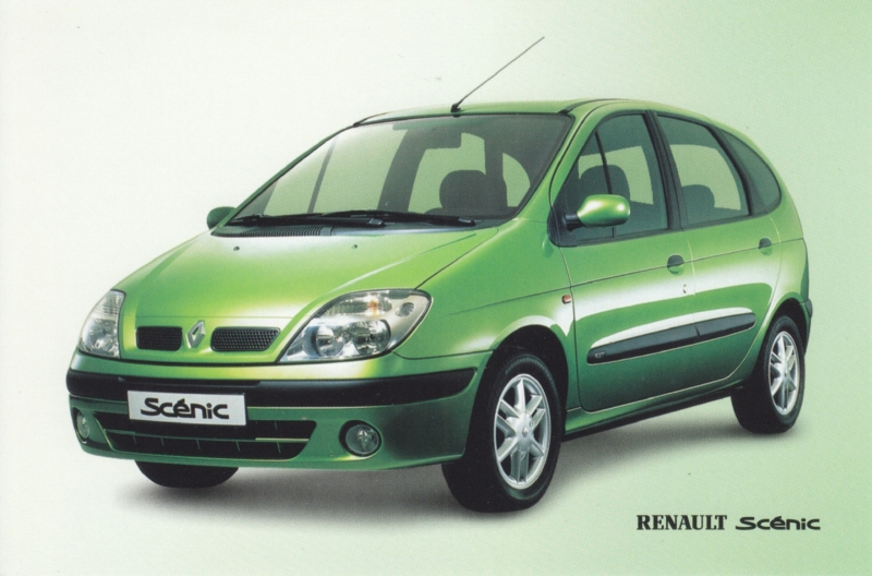 Scénic Hatchback maintenance prices, A6 size card, Dutch language, about 2000
