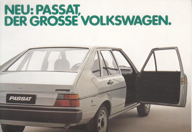 Passat 4-door Hatchback postcard,  A6-size, 1978, German language