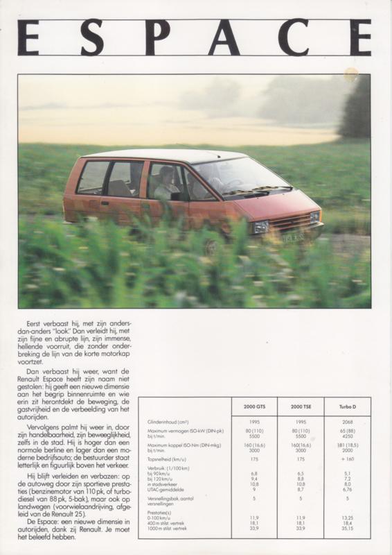 Espace leaflet, 1 page, about 1986, Dutch language, Belgium