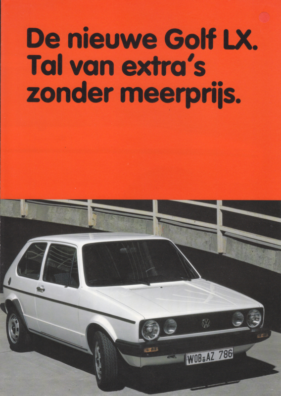 Golf LX brochure, A4-size, 4 pages, 1983, Dutch language