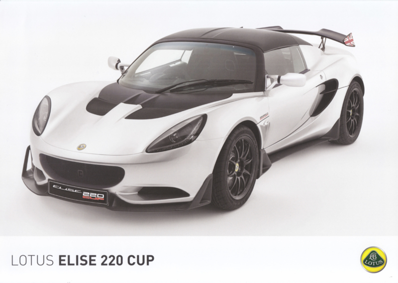 Elise 220 Cup, 2 page leaflet, DIN A4-size, factory-issued, English language