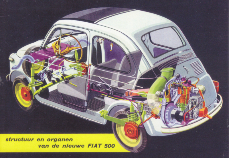 Fiat 500 see-through, DIN A6-size, unused, Dutch issue, 2008