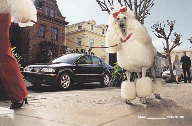 Passat 4-door Hatchback postcard,  A6-size, 2001, USA, English language