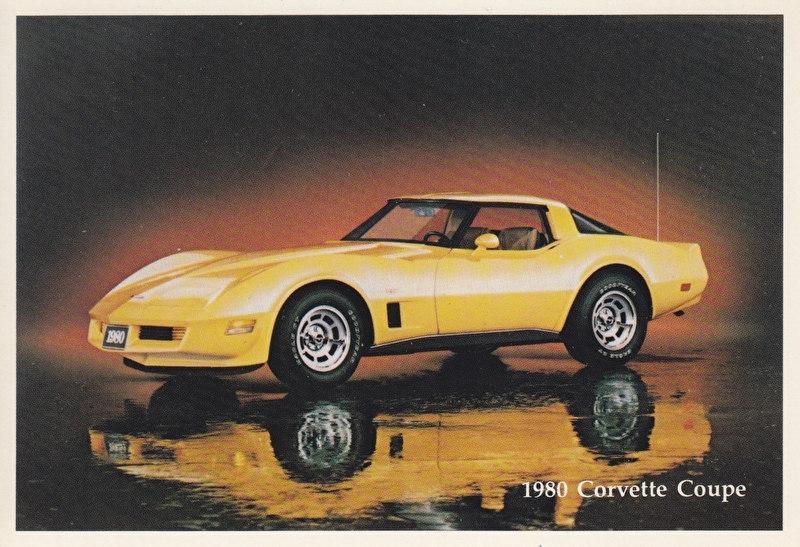 Corvette Coupe,  US postcard, standard size, 1980