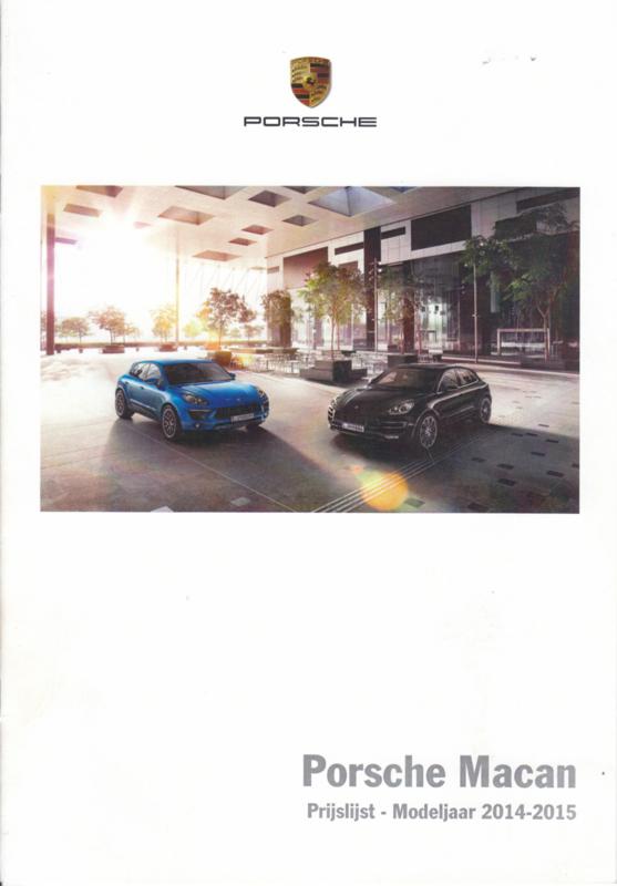 Macan pricelist, 12 pages, 11/2013, Dutch (Belgium)