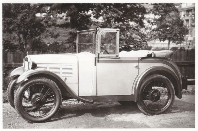 First BMW 3/15 hp., DIN A6-size photo postcard, 1928-29, 4 languages