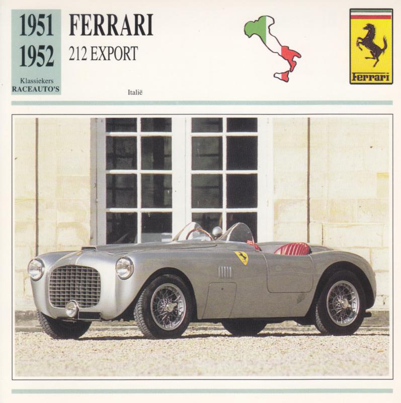 Ferrari 212 Export card, Dutch language, D5 019 02-10