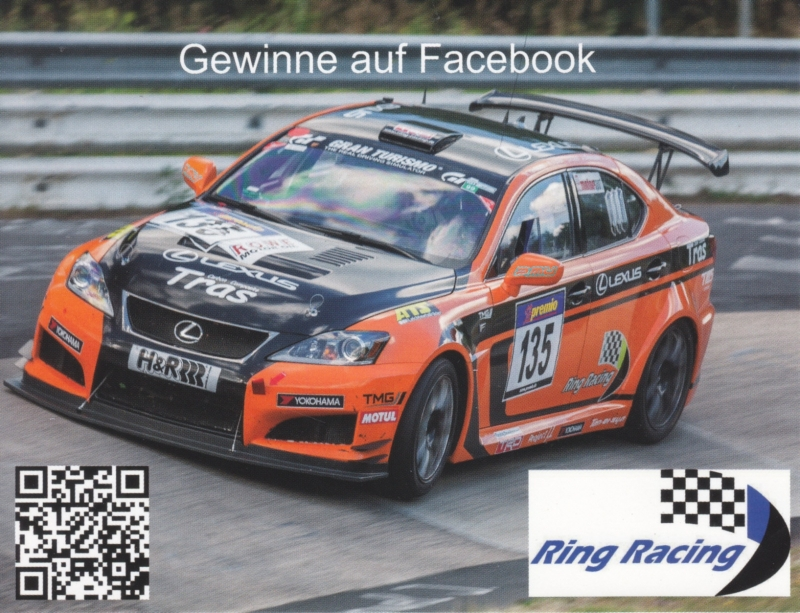 Racer double-sided postcard, DIN A6-size, German, 2014