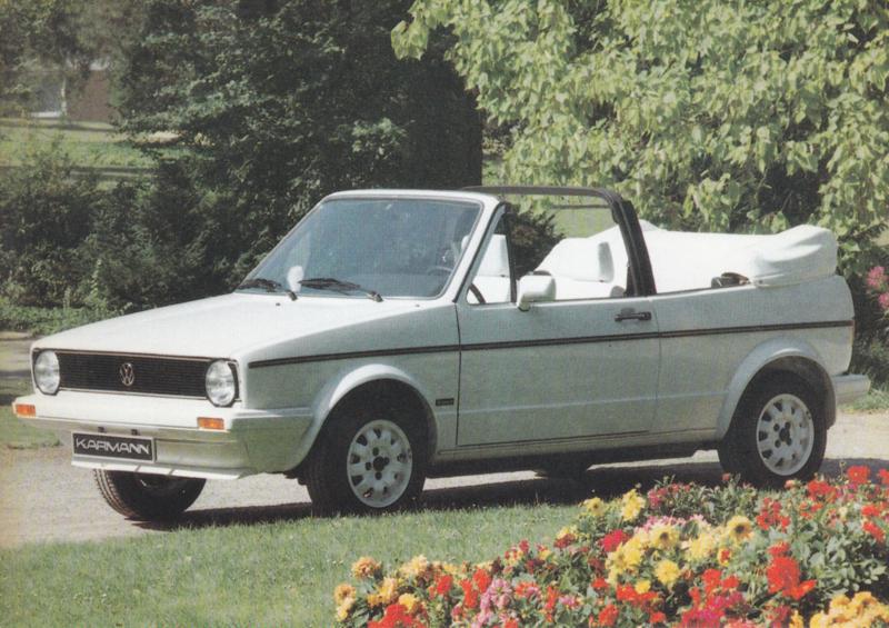 VW Golf Cabriolet by Karmann,  A6-size postcard, 1980s, German