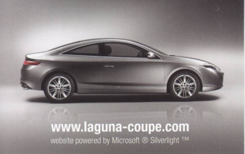 Laguna Coupe, double sided mini card, about 2008