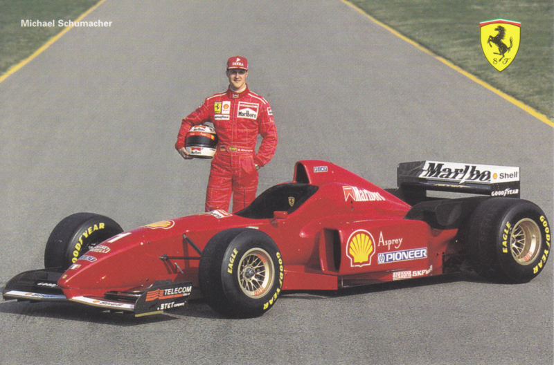 Formula One autogram postcard with driver Michael Schumacher, 1996, # 1073