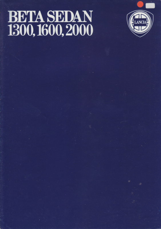 Beta Sedan brochure, A4-size, 8 pages, about 1976, English language