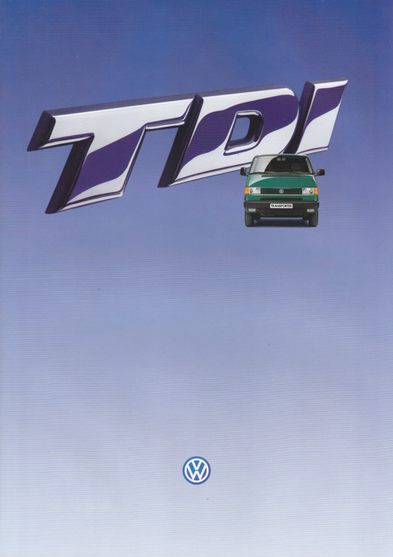 Transporter TDi 2.5 liter brochure, 6 pages,  A4-size, Dutch language, 1995