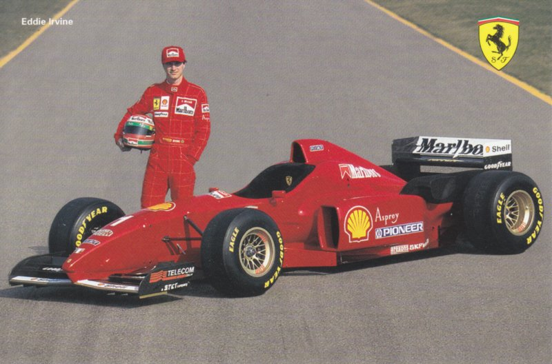 Formula One autogram postcard with driver Eddie Irvine, 1996, # 1074