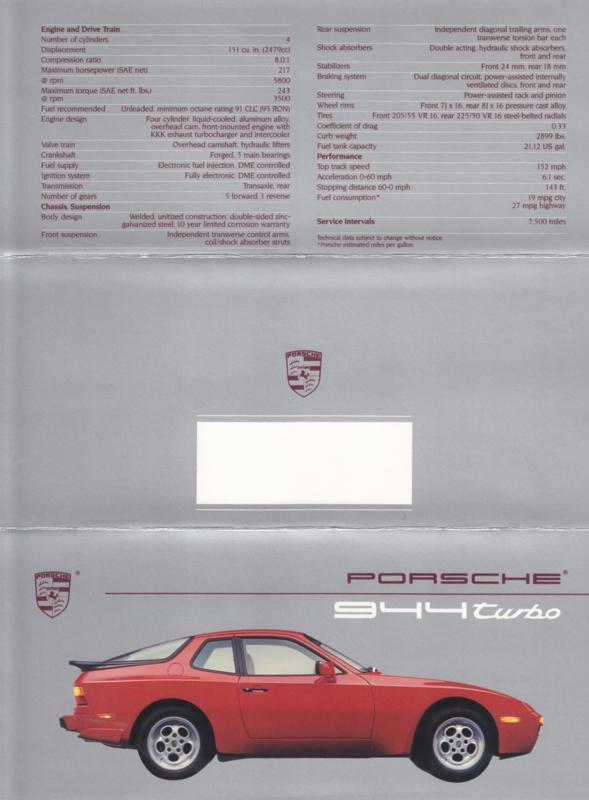 944 Turbo brochure, 6 pages, 1988, English (USA)